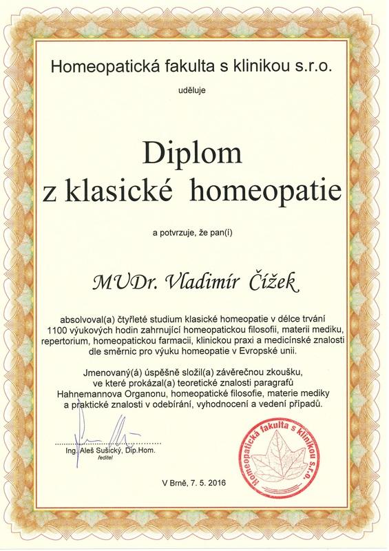 Diplom z klasické homeopatie